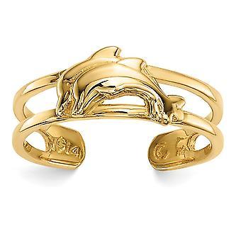 14 k Delfine Zehen ring Schmuck Geschenke für Frauen - 1,3 Gramm