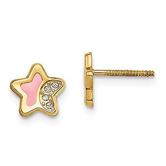 14k Madi K CZ Cubic Zirconia Simulated Diamond Pink Enamel Star Post Earrings Measures 7.5mm long Jewelry Gifts for Wome