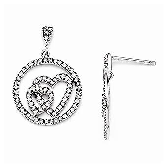 925 Sterling Silver Pave Rhodium plated and CZ Cubic Zirconia Simulated Diamond Brilliant Embers Love Heart Dangle Post
