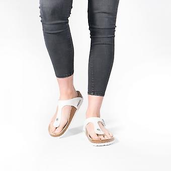 Birkenstock Gizeh 43731 (reg) Bayanlar Birko-flor Toe Post Sandalet Beyaz