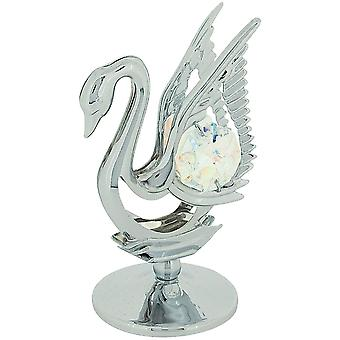 Crystocraft Swan Freestanding Ornament Chrome Plated Metal made with Swarovski Crystals.