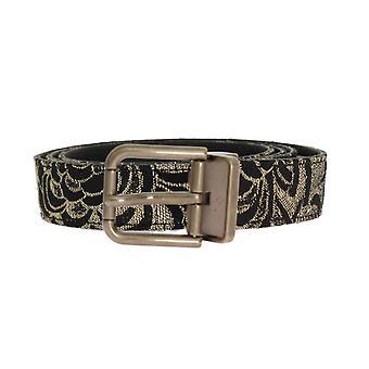 Dolce & Gabbana Black Leather Gold Brocade Square Buckled Belt