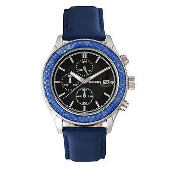 Vrh po Maverick Chronograph kožené-Band hodinky w/Date-strieborná/modrá