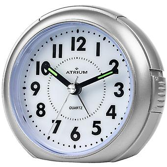 ATRIUM alarm clock Analog quartz silver A240-19 without ticking with light large numbers