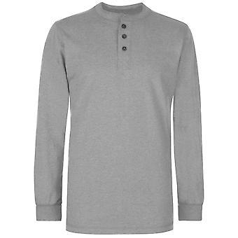 Gelert mens Henley Collar Top bemanning hals lange mouw trui blouse
