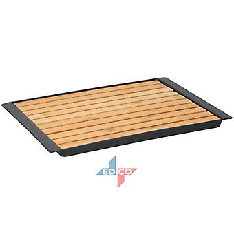 Bamboo Wooden Cutting Board With Crumb Catcher Tray Bread Chopping