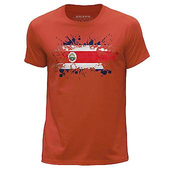 STUFF4 Men's Round Neck T-Shirt/Costa Rica/Rican Flag Splat/Orange
