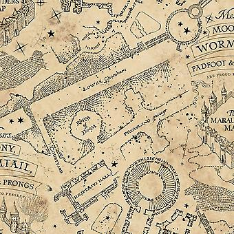 Harry Potter Mischief Managed Glow In The Dark Wallpaper Parchment Graham and Brown 108186