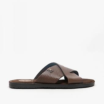 Base London Leo Mens Leather Mule Sandals Brown