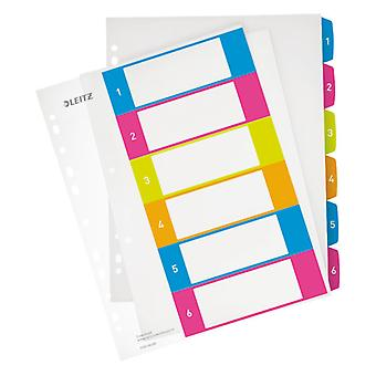 Leitz Multicolour Index Printable WOW PP A4+ tabs 1-6