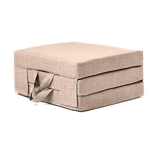 Fun!ture Matelas pliant en mousse portable unique avec poignées de transport dans le tissu de tapisserie d'effet de lin. Le matelas d'invité se replie pour le stockage (Sand)