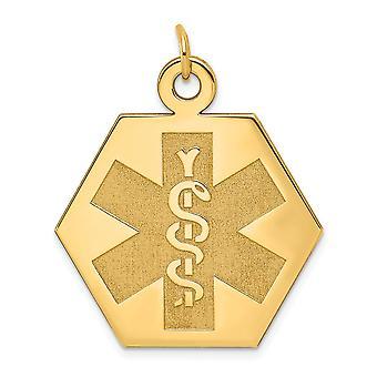 14k Gul Guld Solid Poleret graverbar Medicinsk smykker Unenameled Pendant Halskæde smykker Gaver til kvinder