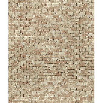 Erismann Stone Brick Pattern Embossed Faux Effect Realistic Brown Beige Wallpaper