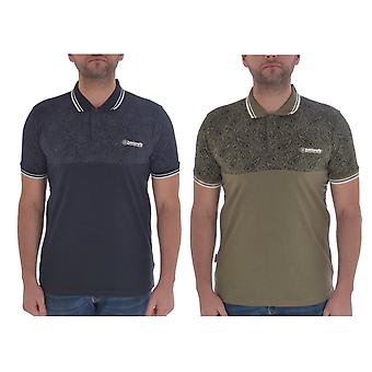 Lambretta Mens Paisley Tipped Cotton Short Sleeve Casual Polo Shirt T-Shirt Top