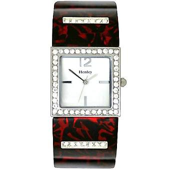 Henley Glamour Red & Black Shell-Print Brac Watch