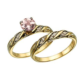 Naturlige fersken/Rosa 1.10 CTW VS Morganite Ring med diamanter gul guld 14K bryllup sæt