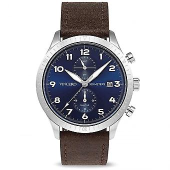 Vincero Watches Blu-silb-a05 The Altitude Silver & Navy Blue Men's Leather Watch