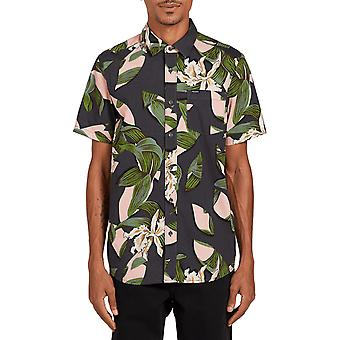 Volcom Cut Out Floral Short Sleeve Shirt in Dark Charcoal