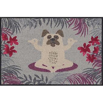 Salonloewe Doormat Yoga Pug 50 x 75 cm Washable Dirt Mat