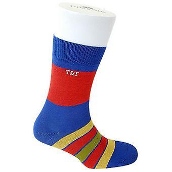 Tyler e Tyler Kaleidoscope meias - azul/vermelho/amarelo