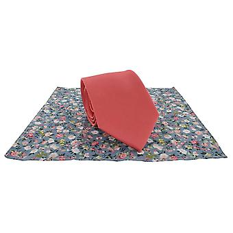 Michelsons of London Plain Tie and Contrast Floral Pocket Square Set - Coral