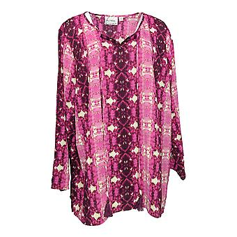 Linea by Louis Dell'Olio Women's Plus Top Printed Blouse Purple A306411