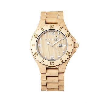 Jorden trä Raywood armband Watch w/datum-Khaki/Tan