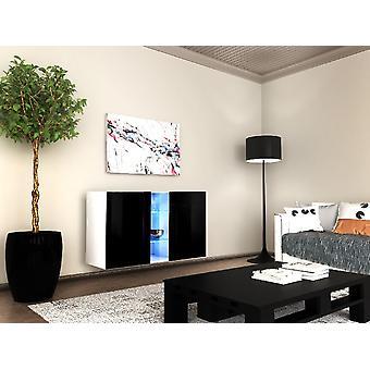 Tallin Color Opaque White Dresser, Negro brillante en chip, MDF, Vidrio 120x40x70 cm