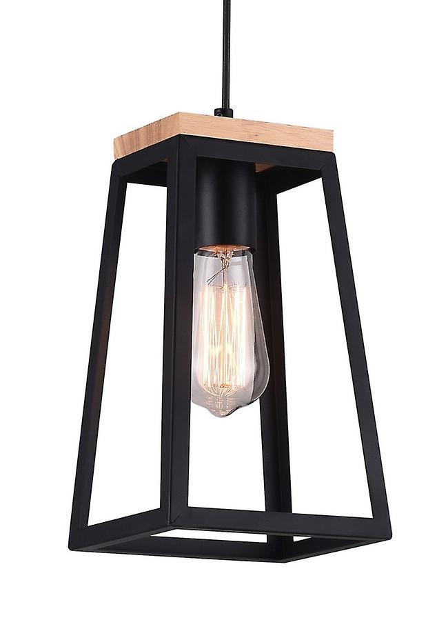 Lampada A Sospensione Isidora Colore Nero, Legno in Metallo, Legno, L17xP14xA148 cm