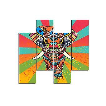Schilderij Soren Multicolor in MDF, L19xP0,3xA50 cm (4 stuks)