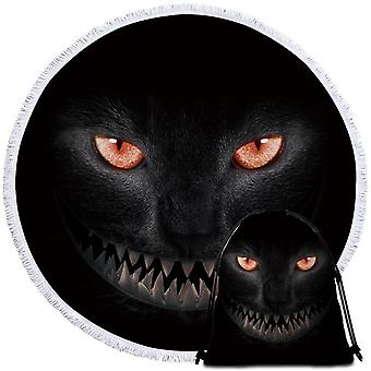 Skræmmende sort kat strand håndklæde