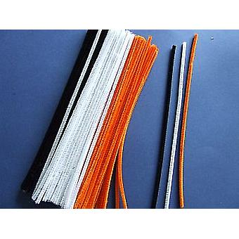 100 Assorted Halloween Colour 6mm Pipe Cleaners | Chenille Stems