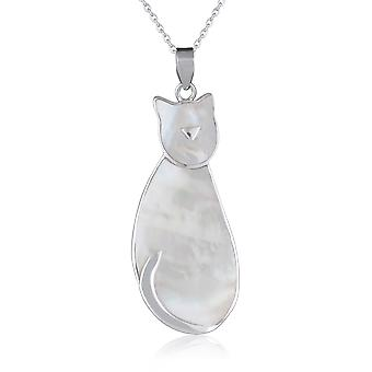ADEN 925 Sterling Silver White Mother-of-pearl Cat Pendant Necklace (id 3076)