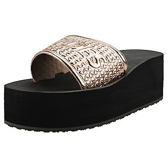 Slydes Bronx Womens Wedge Sandals in Rose Gold