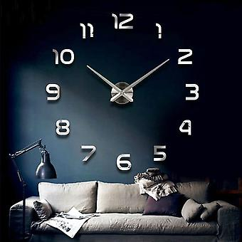 Fashion 3d Big Size Wall Clock Mirror Sticker Diy Brief Living Room Meeting Room Decor