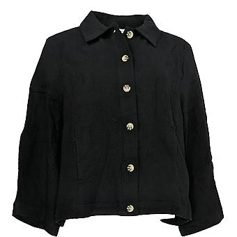 Isaac Mizrahi Live! Women's Top Cotton Gauze Crop Button-Up Black A378227