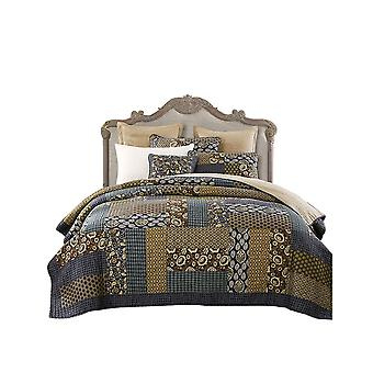 Bedding Cotton Printed Grid Quilt Coverlet Set 3-Piece