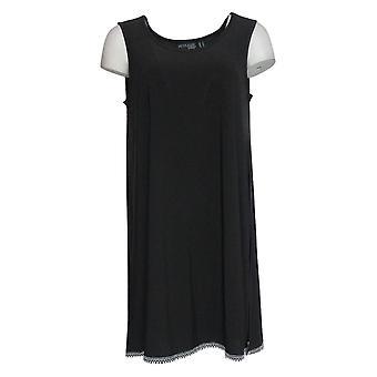 Attitudes by Renee Women's Top Como Jersey Tunic W/Fringe Hem Black A353138