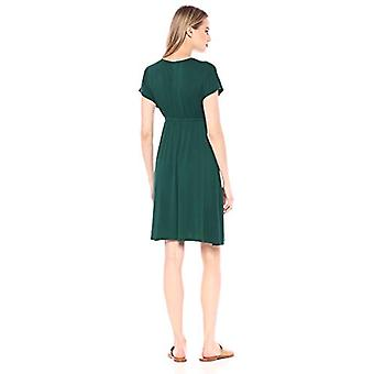 Essentials Women's Solid Surplice Dress, Jade, XS