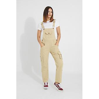 Daisy womens cotton dungarees - sand