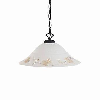 Ideal Lux Foglia - 1 cúpula de luz techo colgante blanco, negro, vidrio decorado, E27