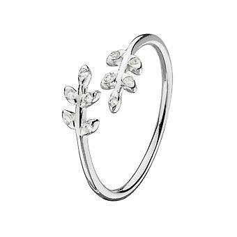 Dew Sterling Adjustable Silver Cubic Zirconia Leaf Adjustable Ring 18025CZ020