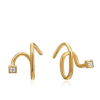 Ania Haie Ear We Go Shiny Gold Twist Square Sparkle Earrings E023-06G