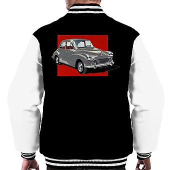 Morris Minor Red Background British Motor Heritage Men's Varsity Jacket