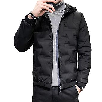YANGFAN Men's Hooded Collar Short Thick Down Solid Color Padded Jacket