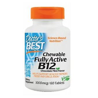 Doctors Best Chewable Fully Active Vitamin B12, 1000 mcg, Chocolate Mint Flavor, 60 Tabs