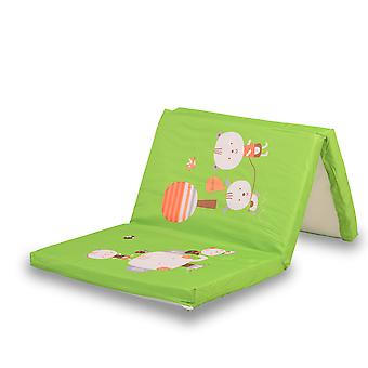 Cangaroo mattress foldable in green, size 120 x 60 x 5 cm, with colorful motifs