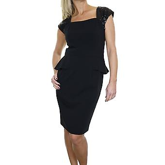 Women's Sequin Strap Pencil Peplum Dress Ladies Party Above The Knee Fully Lined Bodycon Elegant Evening Dress Black 8-12