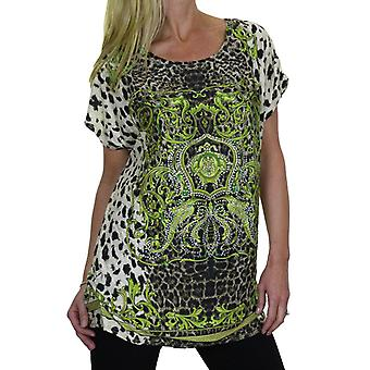 Women's Diamante Animal Print Tunic Top Ladies Loose Leopard Pattern Short Sleeve Day Casual T Shirt 8-16