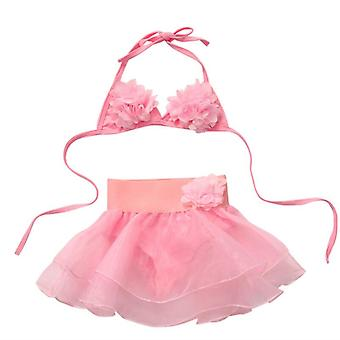 Summer Kids Tutu Skirt Bikini Set- Floral Swimsuit Bathing Suit